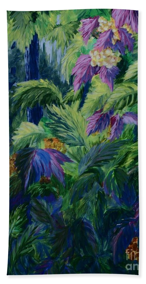 Jungle Hand Towel featuring the painting Jungle Delights by Joanne Smoley