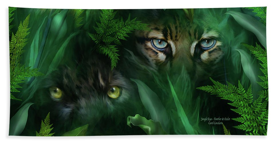 Big Cat Art Hand Towel featuring the mixed media Jungle Eyes - Panther And Ocelot by Carol Cavalaris