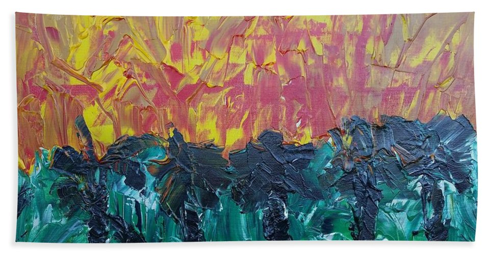 Canvas Hand Towel featuring the painting Jungle Fire by Peter Nervo