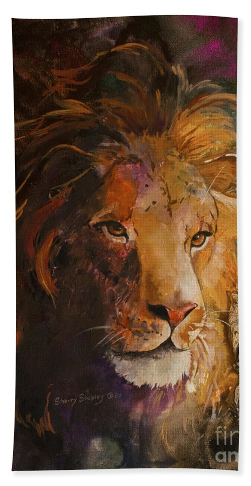 Lion Bath Sheet featuring the painting Jungle Lion by Sherry Shipley