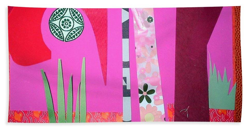 Landscape Bath Sheet featuring the mixed media Jungle Temple by Debra Bretton Robinson