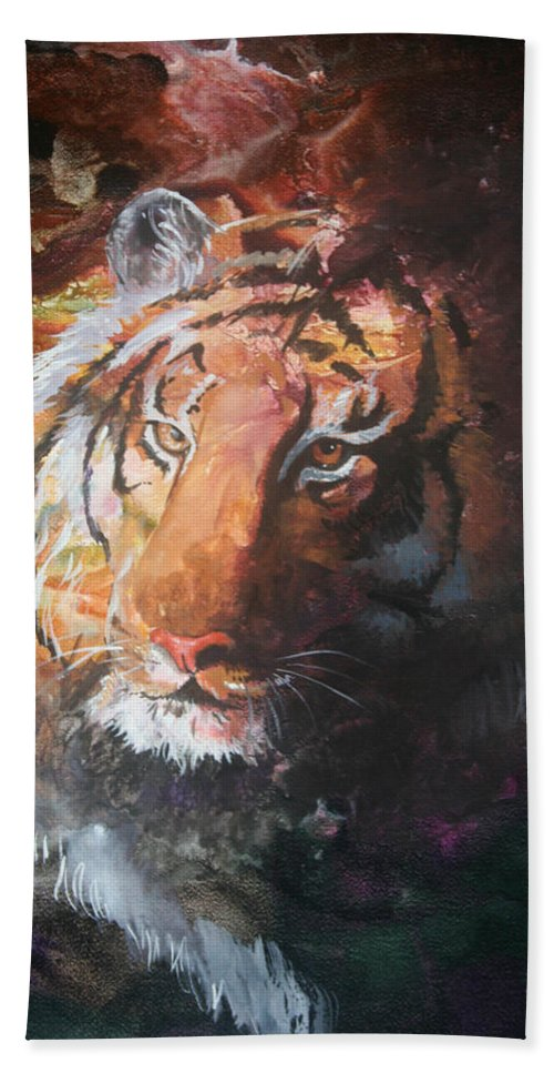 Tiger Bath Sheet featuring the painting Jungle Tiger by Sherry Shipley