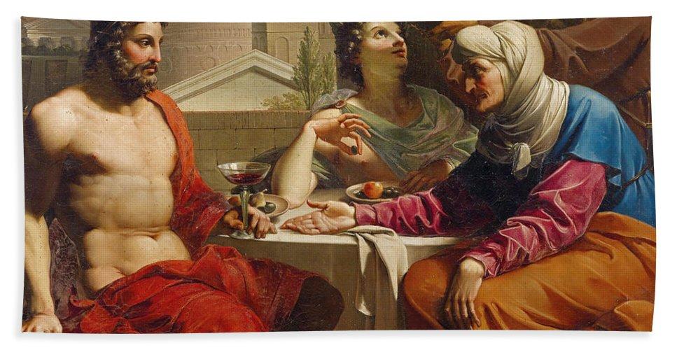 Circle Of Andrea Appiani Bath Sheet featuring the painting Jupiter And Mercury At Philemon And Baucis by Circle of Andrea Appiani
