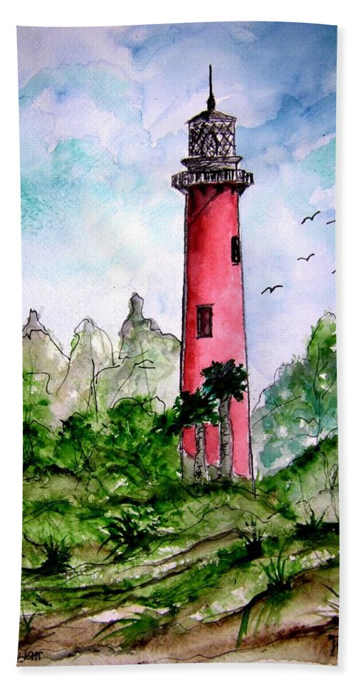 Lighthouse Hand Towel featuring the painting Jupiter Florida Lighthouse by Derek Mccrea