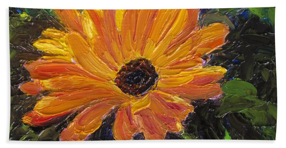 Flower Hand Towel featuring the painting Just a Little Sunlight by Lea Novak