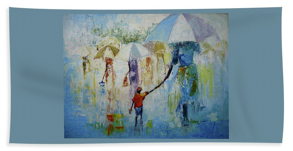 Figure Hand Towel featuring the painting Just After A Heavy Rain Fall by Lawani Sunday