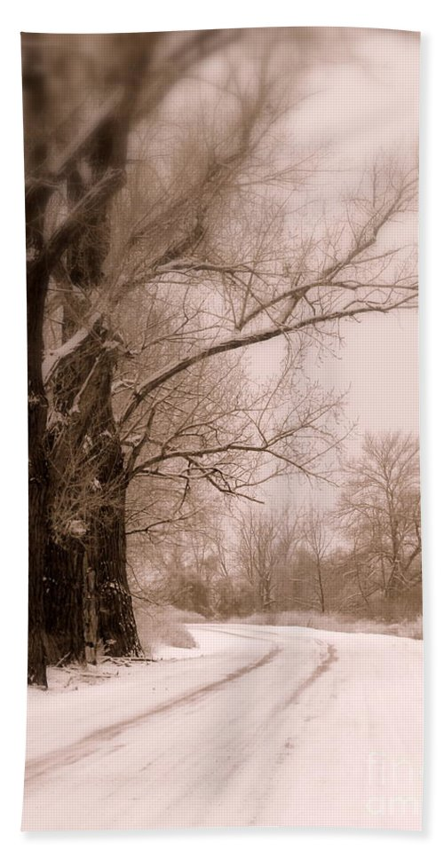 Winter Hand Towel featuring the photograph Just Around The Bend by Carol Groenen