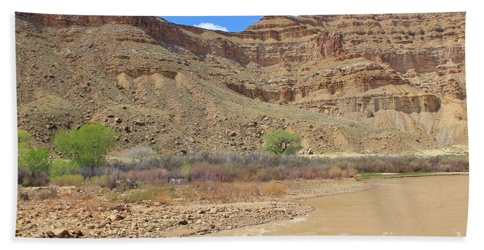 Nature Bath Sheet featuring the photograph Just Around The River Bend 6 by Tonya Hance