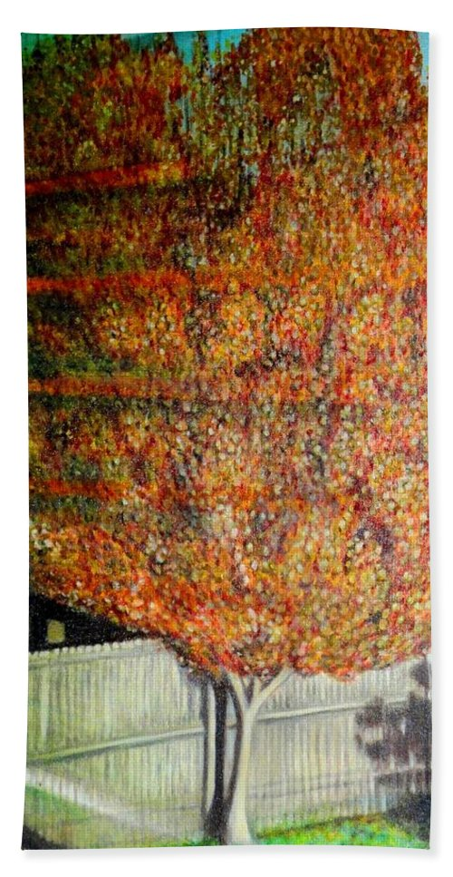 Fall Bath Towel featuring the painting Just Before Fall by Usha Shantharam