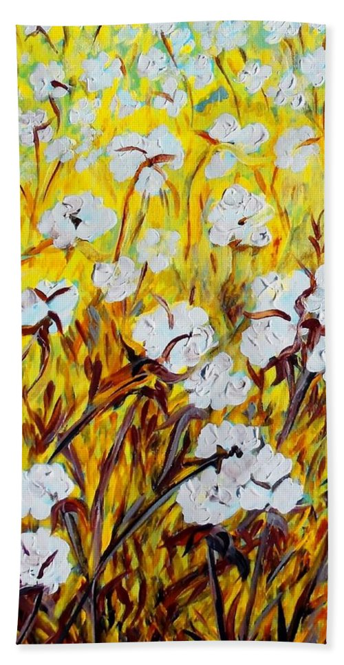 Just Cotton Hand Towel featuring the painting Just Cotton by Eloise Schneider Mote