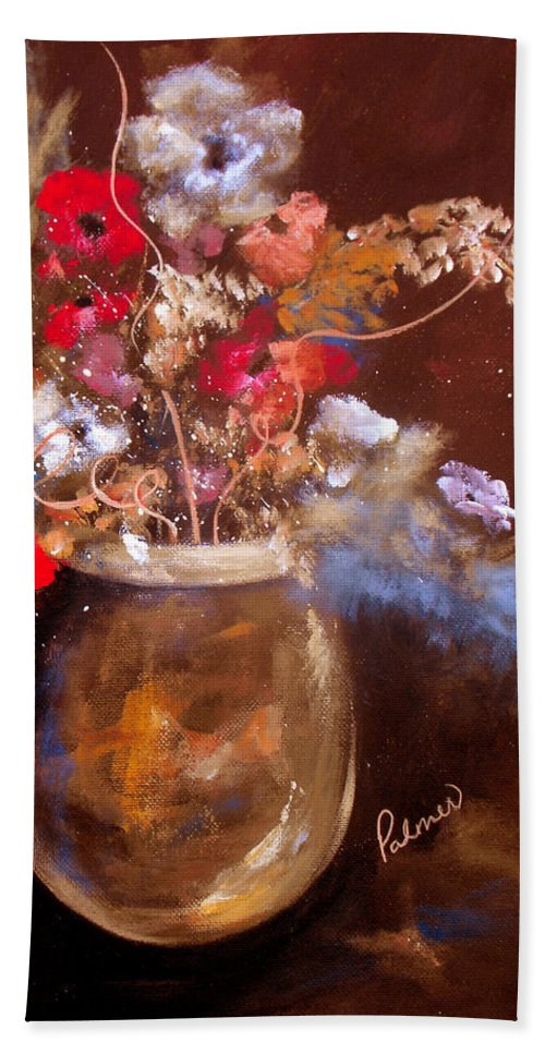ruth Palmer Hand Towel featuring the painting Just Flowers by Ruth Palmer