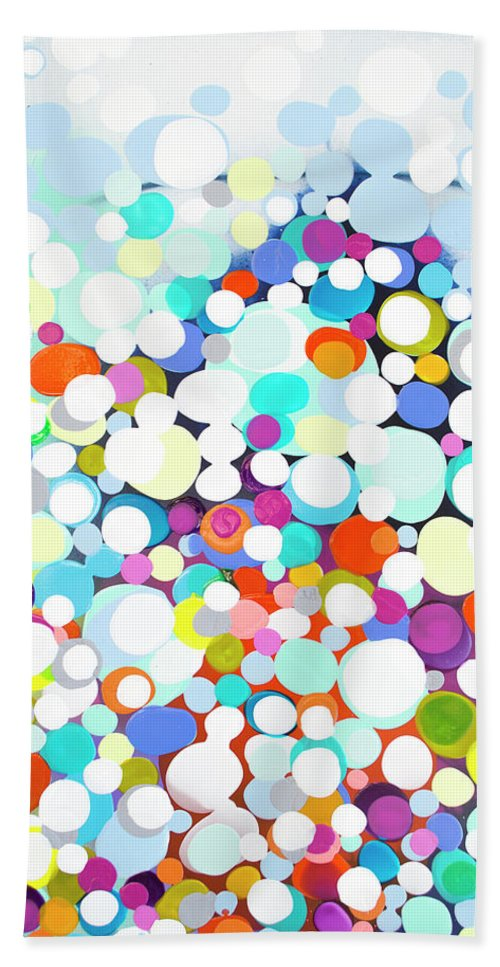 Abstract Bath Towel featuring the painting Just For Fun by Claire Desjardins