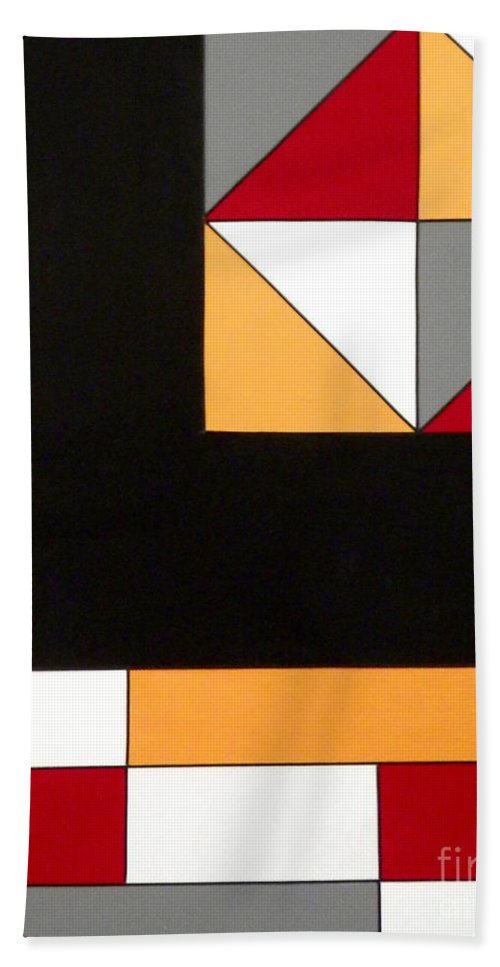 Geometric; Abstract; Black; Gray; Gold; Red; White Colors Bath Sheet featuring the painting Just For Fun by Teresa St George