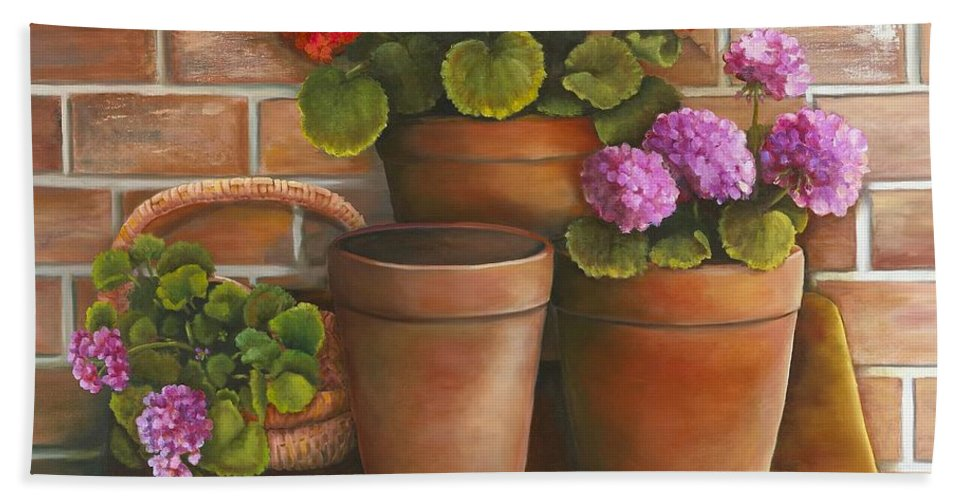 Still Life Hand Towel featuring the painting Just Geraniums by Marlene Book