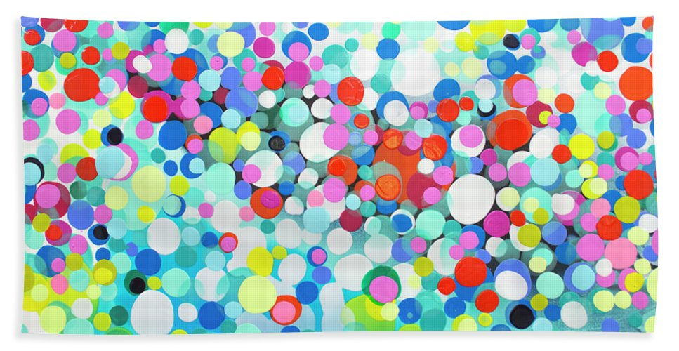 Abstract Hand Towel featuring the painting Just Let It by Claire Desjardins