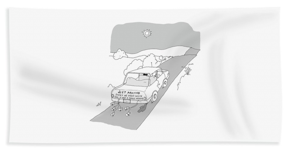 Just Married Bath Sheet featuring the drawing Just Married by Liana Finck
