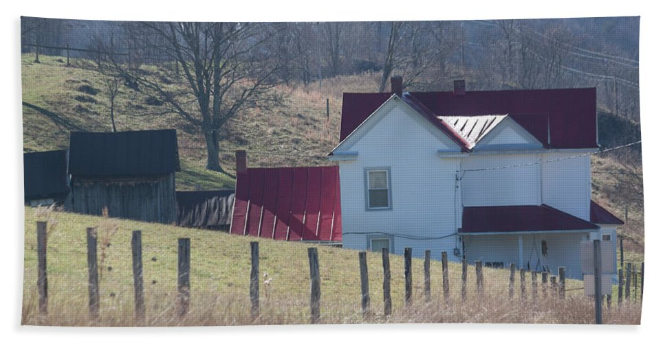 Photograph Bath Sheet featuring the photograph Just Over The Hill - Craig County Virginia Scenic by Suzanne Gaff