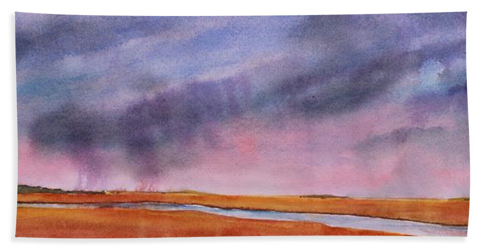 Prairie Hand Towel featuring the painting Just Passing Through by Ruth Kamenev