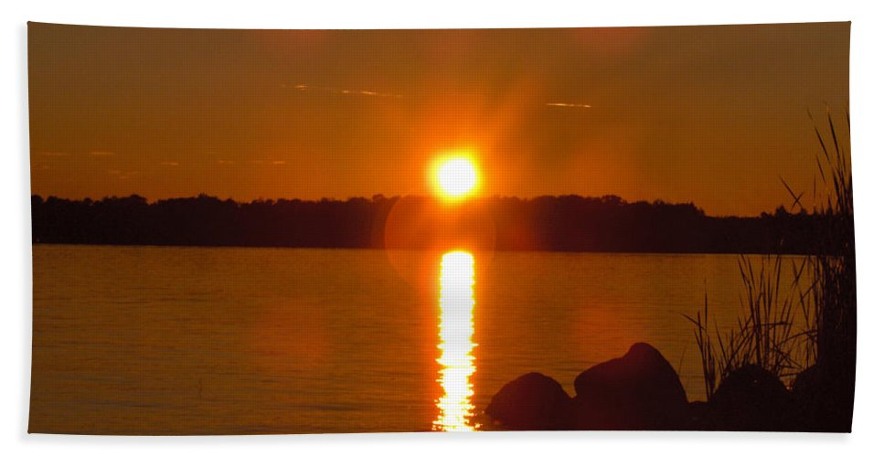 Beach Lake Rock Reeds Water Sky Bath Sheet featuring the photograph Just Rock by Andrea Lawrence