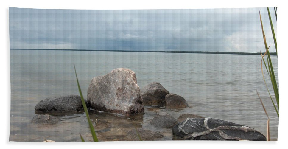 Rocks Water Lake Sky Nature Clouds Hand Towel featuring the photograph Just Rocks by Andrea Lawrence