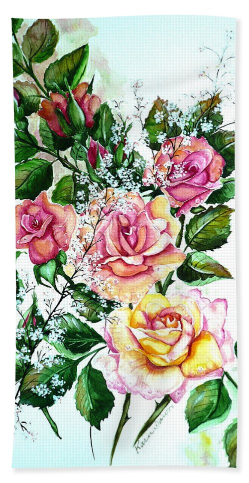 Floral Paintings Pink Paintings  Rose Paintings  Flower Paintings Botanical Paintings Greeting Card Paintings Canvas Prints Paintings Poster Prints Paintings Babies Breath Painting  Bath Sheet featuring the painting Just Roses by Karin Dawn Kelshall- Best