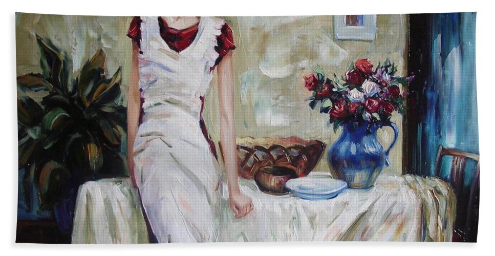 Figurative Hand Towel featuring the painting Just The Next Day by Sergey Ignatenko