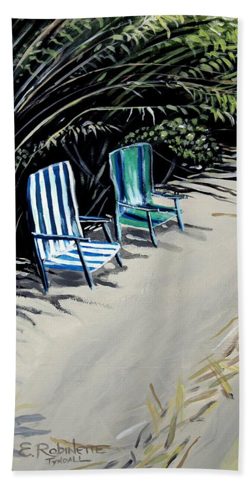 Beach Chairs Hand Towel featuring the painting Just The Two Of Us by Elizabeth Robinette Tyndall
