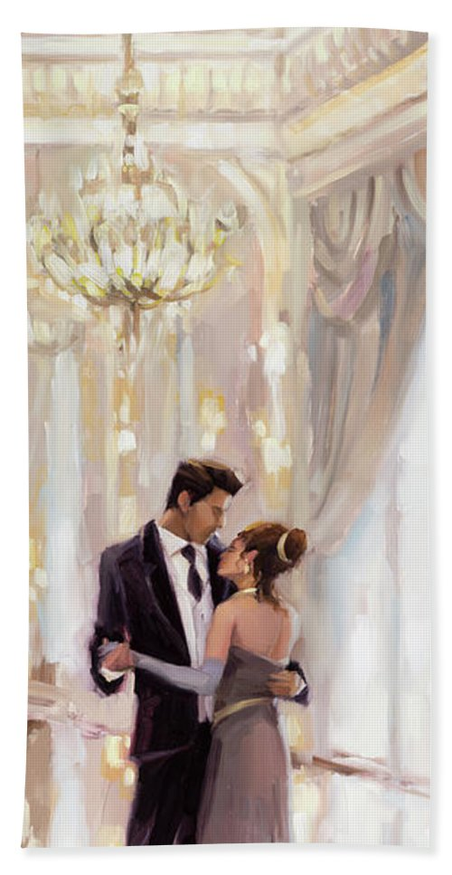 Romance Hand Towel featuring the painting Just The Two Of Us by Steve Henderson