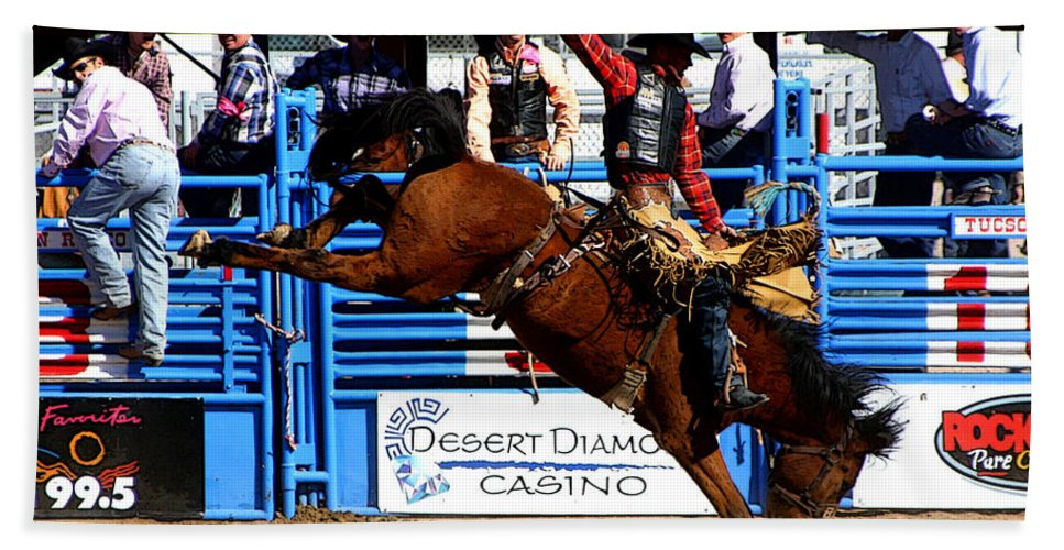 Rodeo. Rodeos Hand Towel featuring the photograph Just Two More Seconds To Go by Joe Kozlowski