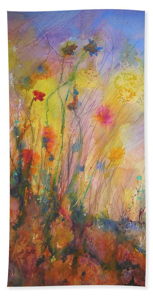 Wild Bath Towel featuring the painting Just Weeds by Mary Schiros