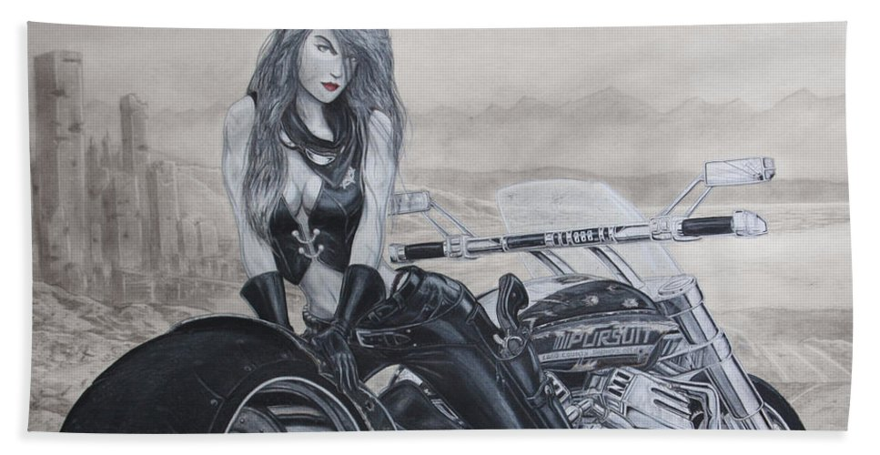 Bike Hand Towel featuring the drawing Justice by Kristopher VonKaufman