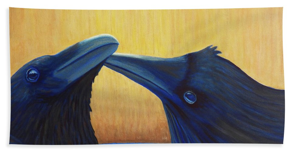 Ravens Hand Towel featuring the painting K And B by Brian Commerford