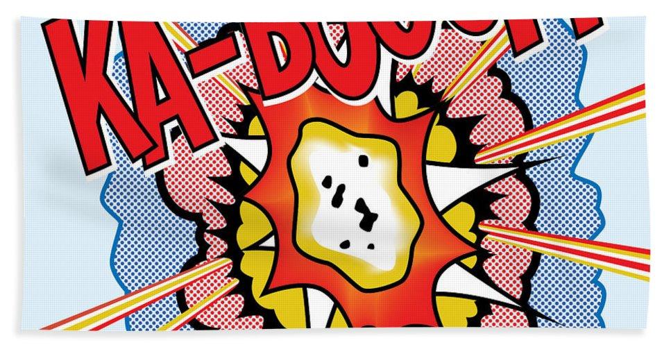 Pop Art Bath Sheet featuring the painting Ka-booom by Gary Grayson