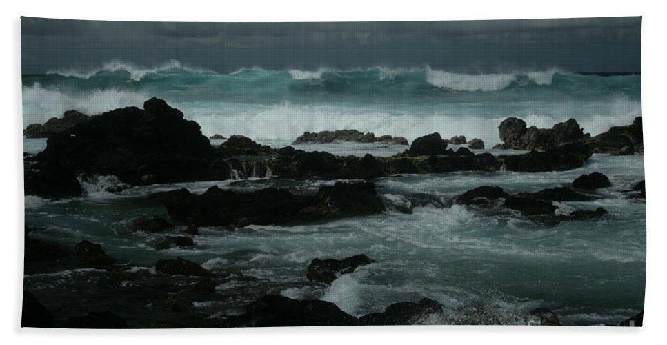 Aloha Bath Sheet featuring the photograph Ka Makani Kaiili Aloha Hookipa Maui Hawaii by Sharon Mau