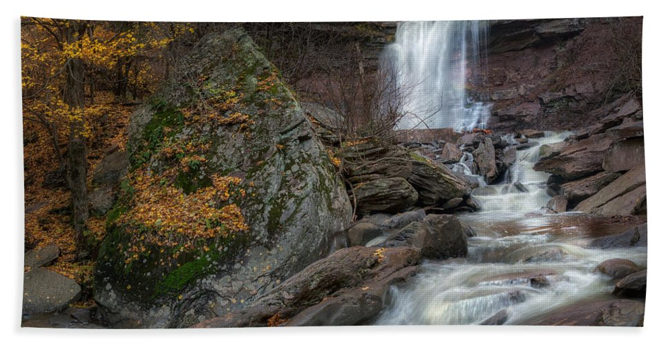 Kaaterskill Clove Bath Sheet featuring the photograph Kaaterskill Falls Autumn Square by Bill Wakeley