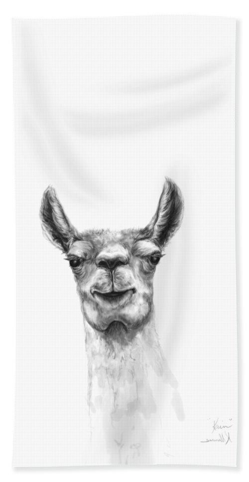 Llama Art Hand Towel featuring the drawing Kain by K Llamas