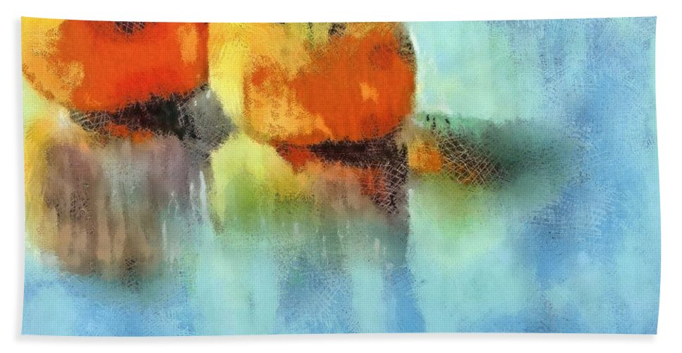 Fruits Hand Towel featuring the pastel Kaki Couple by Dragica Micki Fortuna