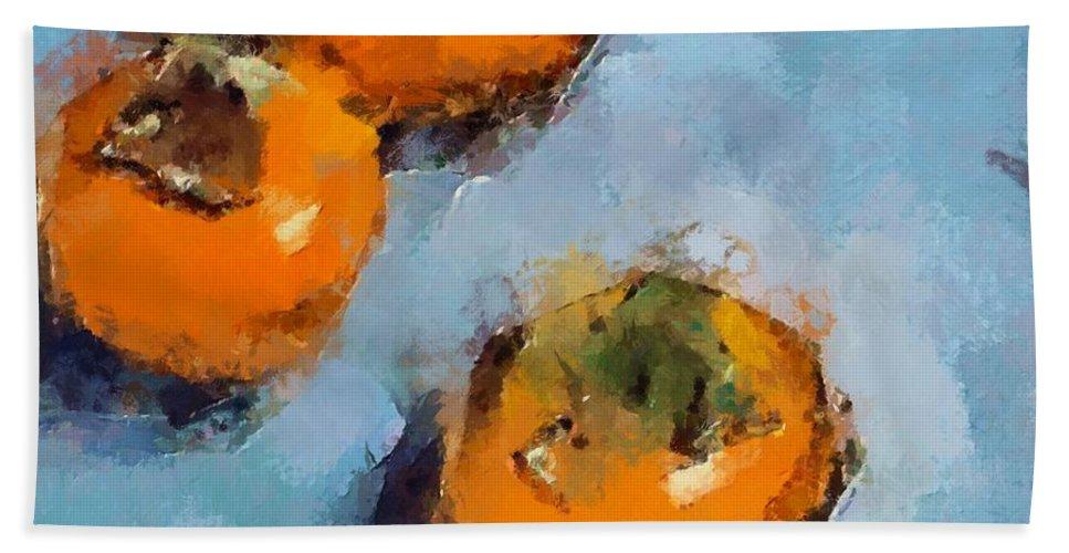 Kaki. Fruits Bath Sheet featuring the painting Kaki by Dragica Micki Fortuna