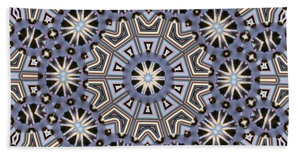 Kaleidoscope Bath Sheet featuring the digital art Kaleidoscope 104 by Ron Bissett