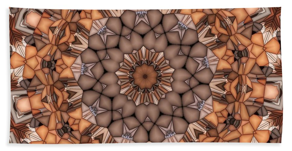 Kaleidoscope Hand Towel featuring the digital art Kaleidoscope 121 by Ron Bissett