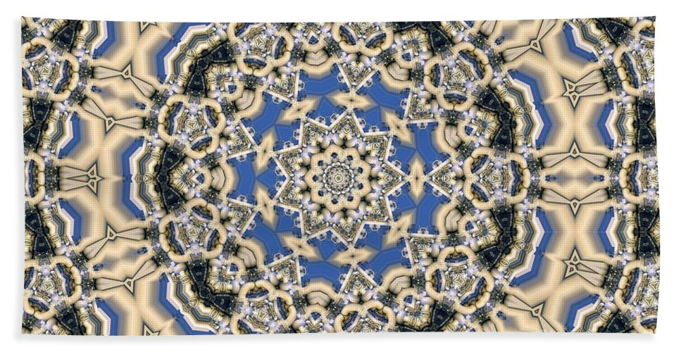 Kaleidoscope Bath Sheet featuring the digital art Kaleidoscope 77 by Ron Bissett