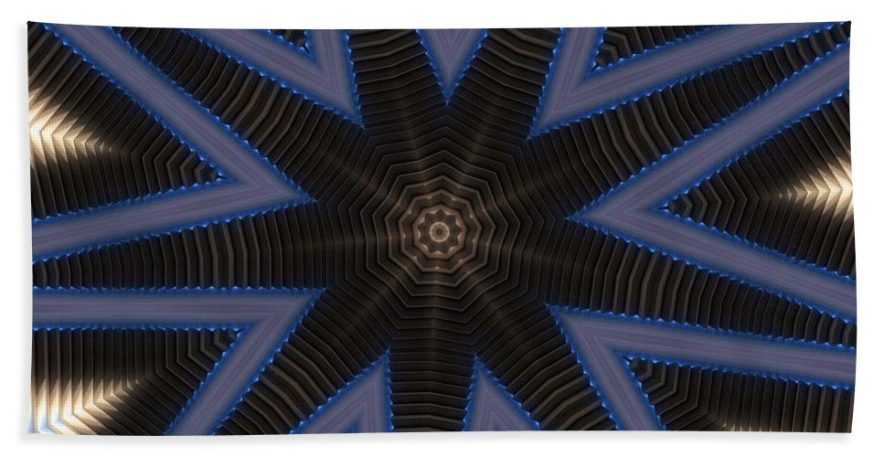 Kaleidoscope Bath Sheet featuring the digital art Kaleidoscope 90 by Ron Bissett