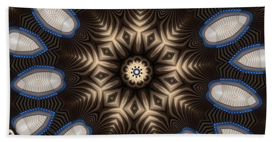 Kaleidoscope Bath Sheet featuring the digital art Kaleidoscope 91 by Ron Bissett