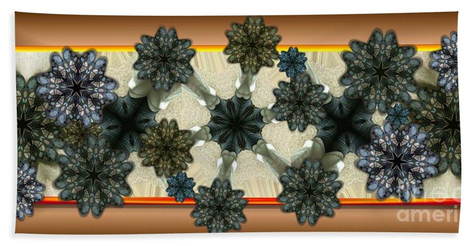 Abstract Hand Towel featuring the digital art Kaleidoscopeflowers by Ron Bissett