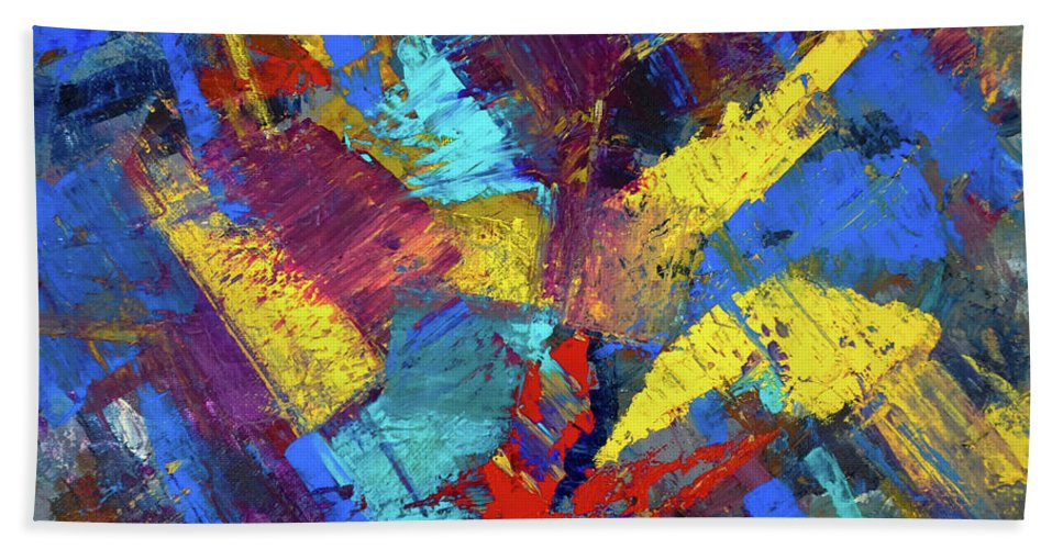Abstract Hand Towel featuring the painting Kaleidoscopic by Dick Bourgault