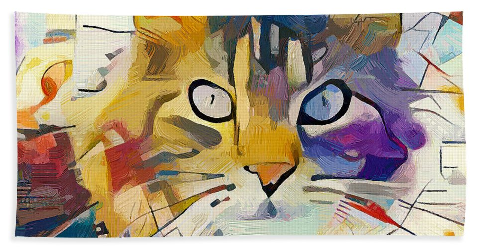 Kandinsky Bath Sheet featuring the digital art Kandinsky Cat by Yury Malkov