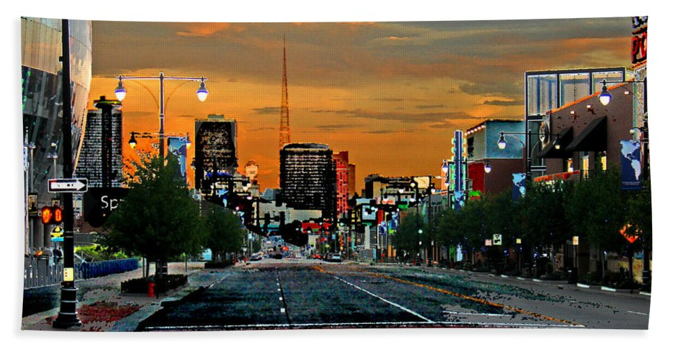 Landscape Bath Sheet featuring the photograph Kansas City Evening by Steve Karol