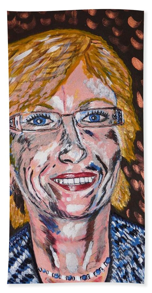 Portrait Bath Towel featuring the painting Karin by Valerie Ornstein