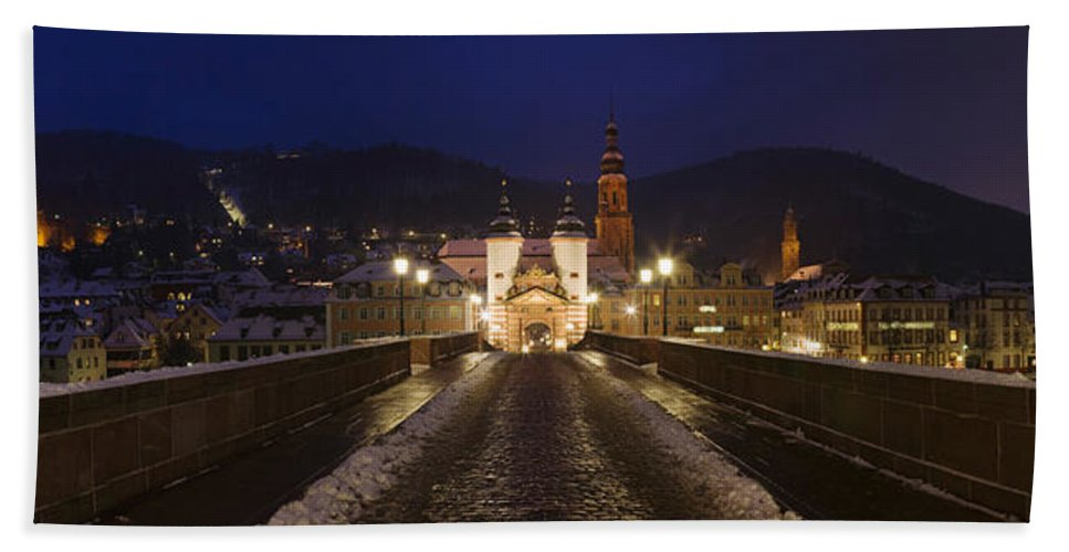 Photography Bath Sheet featuring the photograph Karl Theodor Bridge With The Castle by Panoramic Images