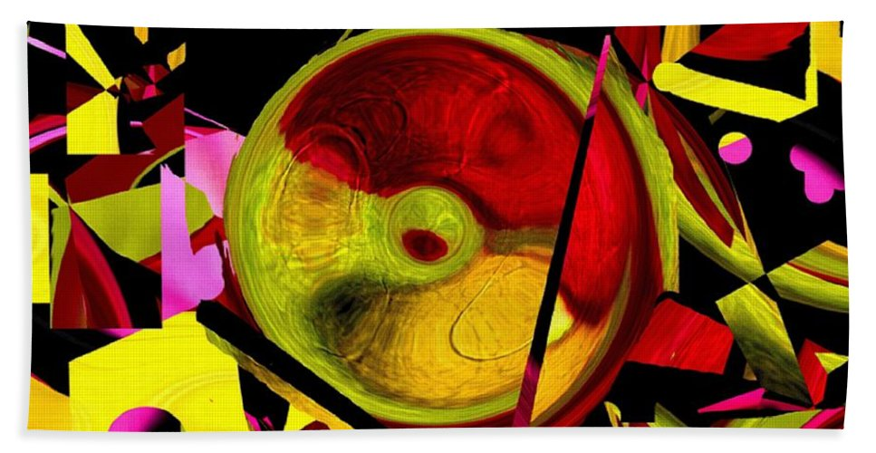 Abstract Hand Towel featuring the painting Karma Wheel by RC DeWinter